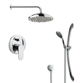 Shower Faucet Round Polished Chrome Rain Shower Faucet Set Remer SFR7052