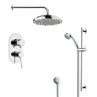 Shower Faucet Round Polished Chrome Rain Shower Faucet Set Remer SFR7053