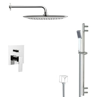 Shower Faucet Modern Square Chrome Shower Faucet with Slide Rail Remer SFR7056