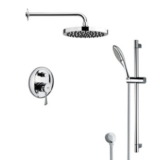 Shower Faucet Round Sleek Rain Shower Faucet with Hand Shower Remer SFR7143