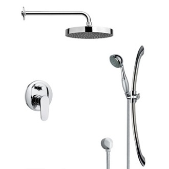 Shower Faucet Round Sleek Rain Shower Faucet with Hand Shower Remer SFR7147