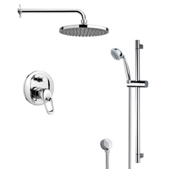 Shower Faucet Round Sleek Rain Shower Faucet with Hand Shower Remer SFR7150
