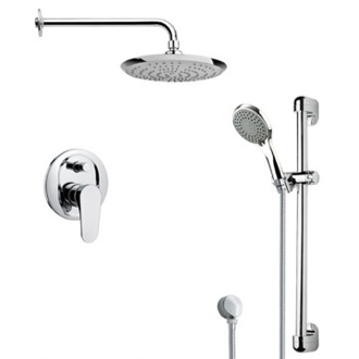 Shower Faucet Round Sleek Chrome Shower Faucet Set Remer SFR7163