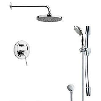 Shower Faucet Round Sleek Chrome Shower Faucet Set Remer SFR7166