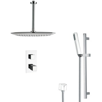 Shower Faucet Modern Thermostatic Chrome Shower Faucet with Slide Rail Remer SFR7400
