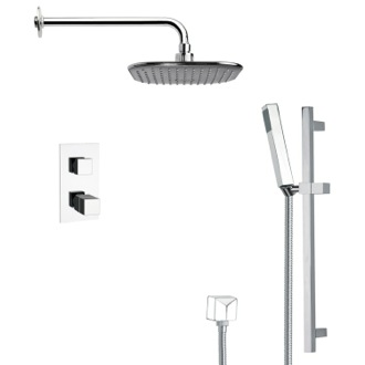 Shower Faucet Modern Thermostatic Chrome Shower Faucet with Slide Rail Remer SFR7404