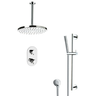 Shower Faucet Thermostatic Modern Chrome Shower Faucet with Slide Rail Remer SFR7405