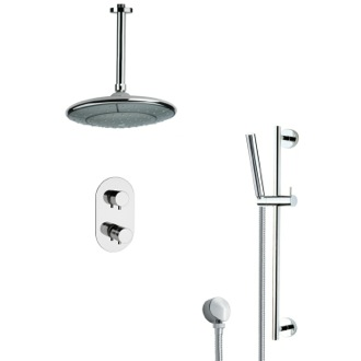 Shower Faucet Thermostatic Modern Chrome Shower Faucet with Slide Rail Remer SFR7406