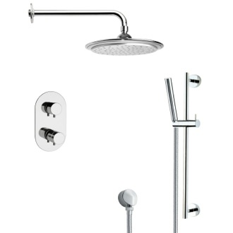 Shower Faucet Thermostatic Modern Chrome Shower Faucet with Slide Rail Remer SFR7407