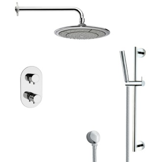 Shower Faucet Thermostatic Modern Chrome Shower Faucet with Slide Rail Remer SFR7408