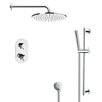 Shower Faucet Thermostatic Modern Chrome Shower Faucet with Slide Rail Remer SFR7409