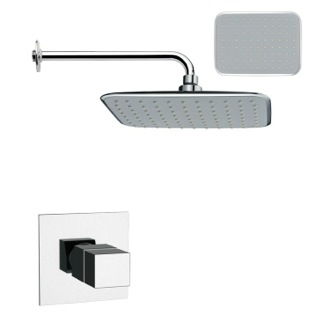 Shower Faucet Rectangular Contemporary Shower Faucet Set in Chrome Remer SS1161