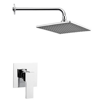 Shower Faucet Square Lever Shower Faucet Set in Polished Chrome Remer SS1223