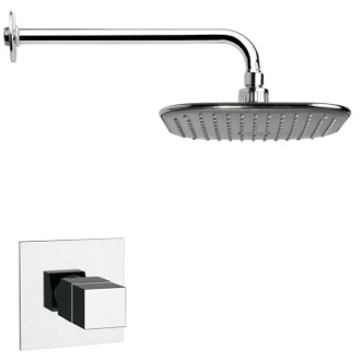 Shower Faucet Thermostatic Polished Chrome Square Shower Faucet Set Remer SS1404