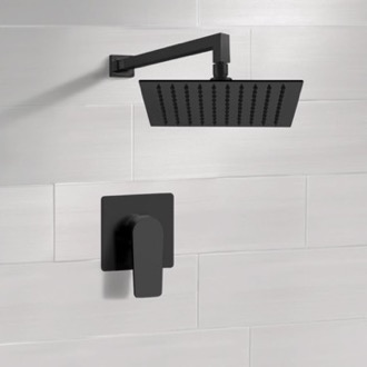 Matte Black Shower Faucet with Rain Shower Head Remer SS43