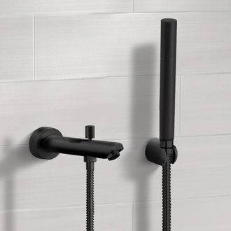 Matte Black Wall Mounted Tub Spout Kit with Hand Shower Remer TDH05