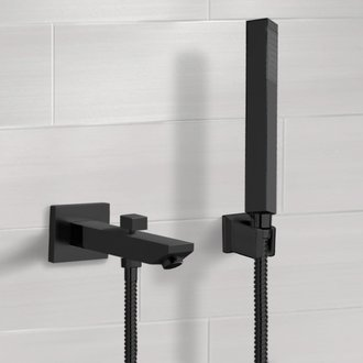 Matte Black Wall Mounted Tub Spout Set with Hand Shower Remer TDH06