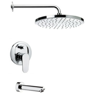 Tub and Shower Faucet Contemporary Tub and Rain Shower Faucet Set Remer TSF2001