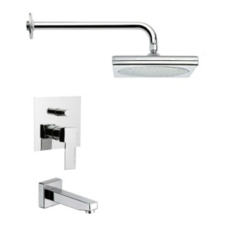 Tub and Shower Faucet Square Modern Shower System Remer TSF2017