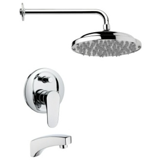 Tub and Shower Faucet Contemporary Round Polished Chrome Rain Shower System Remer TSF2029