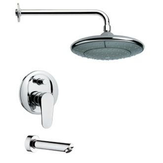 Tub and Shower Faucet Modern Round Chrome Rain Shower System Remer TSF2050