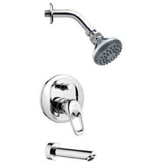 Tub and Shower Faucet Sleek Modern Chrome Shower System Remer TSF2057