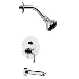 Tub and Shower Faucet Sleek Polished Chrome Shower System Remer TSF2059