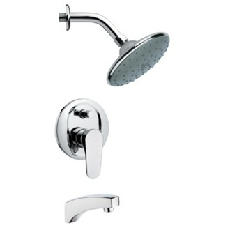 Tub and Shower Faucet Modern Round Polished Chrome Rain Shower System Remer TSF2064