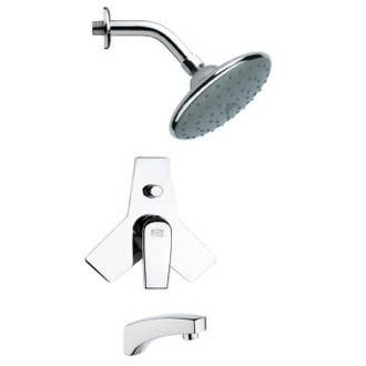 Tub and Shower Faucet Modern Chrome Round Tub and Rain Shower Faucet Set Remer TSF2068