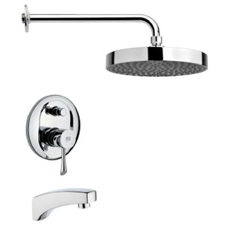 Tub and Shower Faucet Polished Chrome Modern Tub and Rain Shower Faucet Remer TSF2196
