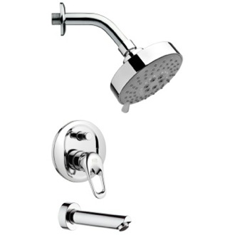 Tub and Shower Faucet Round Polished Chrome Shower System Remer TSF2201