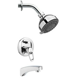 Tub and Shower Faucet Round Modern Chrome Tub and Shower Faucet Set Remer TSF2206