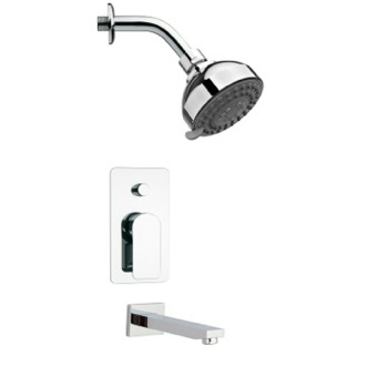Tub and Shower Faucet Round Contemporary Chrome Shower System Remer TSF2207
