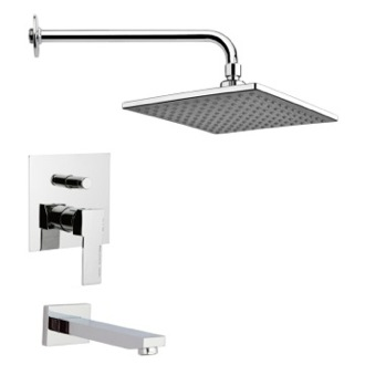 Tub and Shower Faucet Modern Chrome Square Tub and Rain Shower Faucet Remer TSF2223