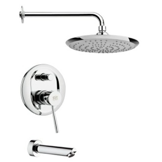Tub and Shower Faucet Sleek Polished Chrome Rain Shower System Remer TSF2234