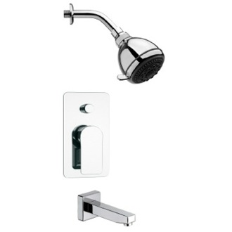 Tub and Shower Faucet Round Sleek Chrome Tub and Shower Faucet Set Remer TSF2249