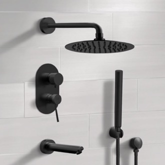 Matte Black Tub and Shower System with Rain Shower Head and Hand Shower Remer TSH34