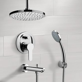 Chrome Tub and Shower System with Rain Ceiling Shower Head and Hand Shower Remer TSH36