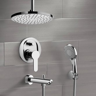 Chrome Tub and Shower Set with Rain Ceiling Shower Head and Hand Shower Remer TSH37