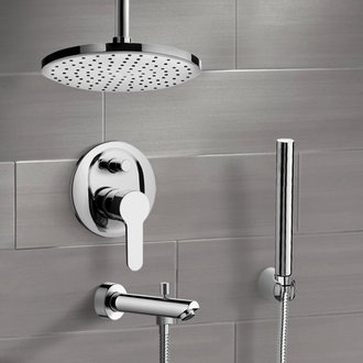 Chrome Tub and Shower Faucet Set with Rain Ceiling Shower Head and Hand Shower Remer TSH38