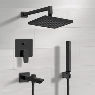 Matte Black Tub and Shower Set with 8
