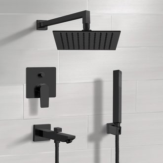 Matte Black Tub and Shower Set with Rain Shower Head and Hand Shower Remer TSH42