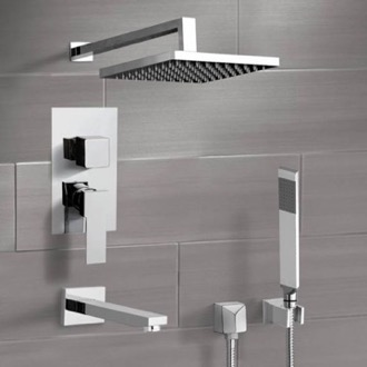 Chrome Tub and Shower Faucet Set with Rain Shower Head and Hand Shower Remer TSH43