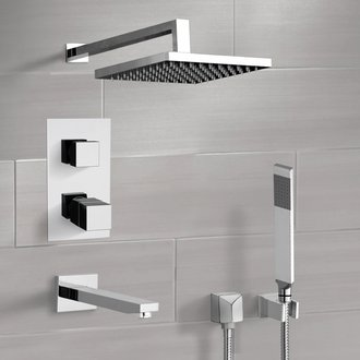 Chrome Thermostatic Tub and Shower Faucet Set with Rain Shower Head and Hand Shower Remer TSH44