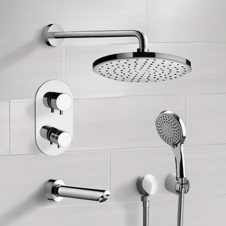 Chrome Thermostatic Tub and Shower System with Rain Shower Head and Hand Shower Remer TSH45