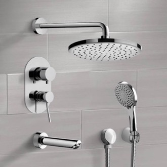Chrome Tub and Shower Set with Rain Shower Head and Hand Shower Remer TSH46