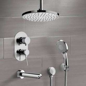 Chrome Tub and Shower Set with Ceiling Rain Shower Head and Hand Shower Remer TSH47