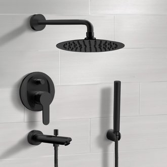 Matte Black Tub and Shower System With Rain Shower Head and Hand Shower Remer TSH48