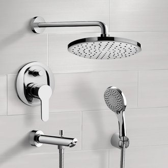 Chrome Tub and Shower Faucet With Rain Shower Head and Hand Shower Remer TSH50