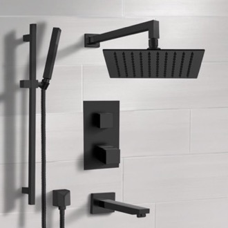Matte Black Thermostatic Tub and Shower Faucet with Rain Shower Head and Hand Shower Remer TSR34
